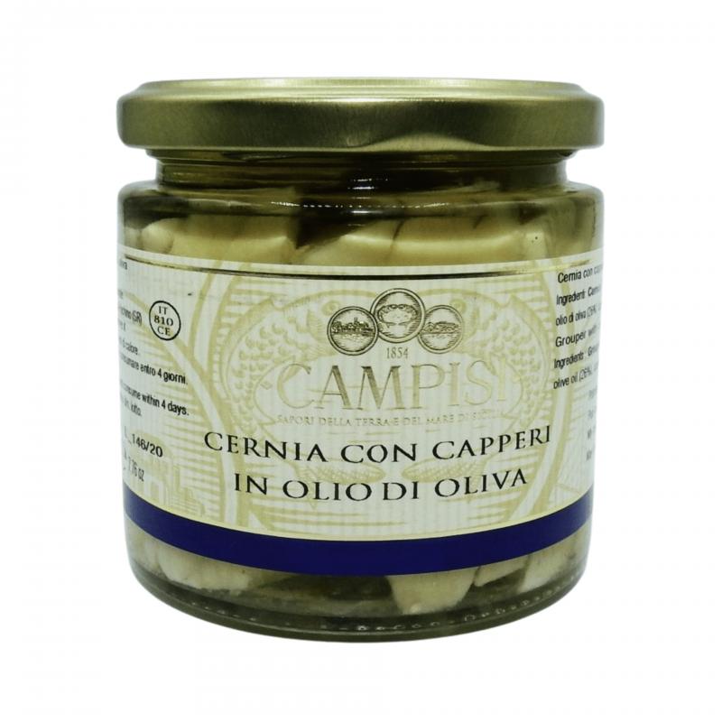 Cernia con capperi in olio di oliva